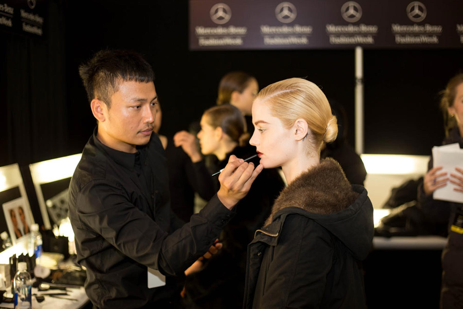 BACKSTAGE AND RUNWAY NAEEM KHAN FALL WINTER 2014 Mercedes Benz Fashion Week